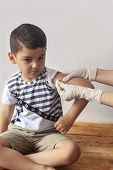 A Doctor Vaccinating Young Patient. Little Boy Scared Of Injection. Childs Immunization, Childrens poster