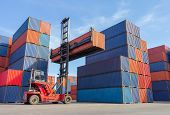 Forklift Handling Container Box Loading To Truck In Shipping Yard With Cargo Container Background, L poster