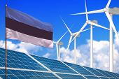 Estonia Solar And Wind Energy, Renewable Energy Concept With Windmills - Renewable Energy Against Gl poster