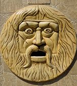 Bas-relief, The Face Of A Bearded And Hairy Man. poster