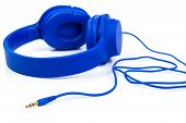 Headphones Isolated On A White Background, Blue Headphones. poster