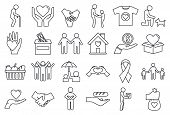 Volunteering Charity Icons Set. Outline Set Of Volunteering Charity Vector Icons For Web Design Isol poster