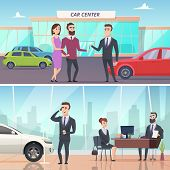 Buying Car. Sell And Rent Auto In Car Exhibition Advertising Banners Concept Vector Characters. Illu poster