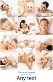 Women having different types of massage. Spa, wellness, health care and aroma therapy collage. Healt poster
