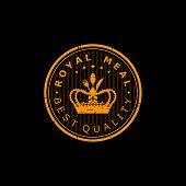 Design A Royal Meal. Illustration Logo Design For A Royal Meal On A Black Background poster