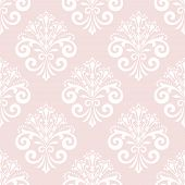 Wallpaper In The Style Of Baroque. Seamless Background. White And Pink Floral Ornament. Graphic Patt poster