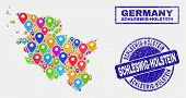 Vector Colorful Mosaic Schleswig-holstein Land Map And Grunge Stamp Seals. Abstract Schleswig-holste poster