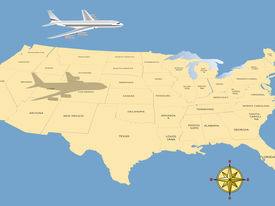 stock photo of usa map  - Travel conceptual illustration - JPG