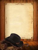 stock photo of headgear  - Western background with cowboy clothes and old paper - JPG