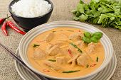 picture of curry chicken  - Kaeng Phet - Thai Red Chicken Curry & Jasmine Rice