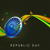 pic of asoka  - Indian flag color creative wave background with 3D Asoka wheel and butterflies - JPG