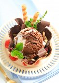 Chocolate sundae with strawberry dip