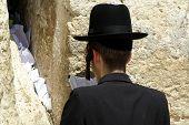 stock photo of tora  - Hasidic jews at the wailing western wall jerusalem israel - JPG