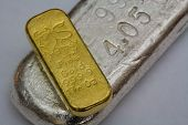 stock photo of oz  - Pure Gold and Silver Bars  - JPG
