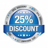 25 Discount Blue Silver Button