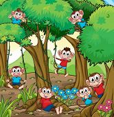stock photo of dancing rain  - Illustration of monkeys playing in the jungle - JPG