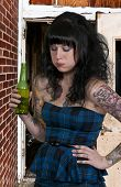 stock photo of puke  - Beautiful woman about to vomit her beer - JPG