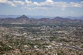 stock photo of piestewa  - Phoenix Arizona skyline looking to the northeast including Piestewa Peak - JPG