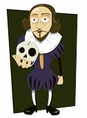 image of british culture  - a vector cartoon representing William Shakespeare asking himself to - JPG