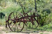 picture of horse plowing  - Old Plow Craft for the agriculture in the country - JPG