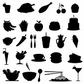pic of french fries  - silhouettes food icons for restaurants cafe dining and others - JPG