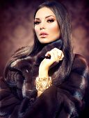 image of mink  - Beauty Fashion Model Girl in Mink Fur Coat - JPG
