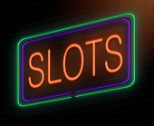 image of coin slot  - Illustration depicting an illuminated neon sign with a slots concept - JPG