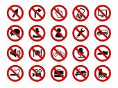 forbidden sign icon set