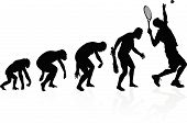 stock photo of darwin  - illustration of depicting the evolution of a male from ape to man to Tennis player in silhouette - JPG