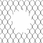 stock photo of chain link fence  - Torn fence chain vector illustration - JPG