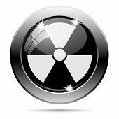 pic of radium  - Metallic round glossy icon with white design on black background - JPG