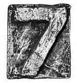 foto of number 7  - Metal alloy alphabet number 7 - JPG