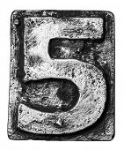 stock photo of alloy  - Metal alloy alphabet number 5 - JPG