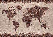 picture of coffee crop  - Coffee map made of beans on white background - JPG