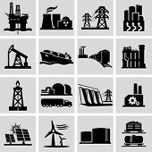 stock photo of natural resources  - Energy production icons - JPG