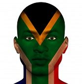 picture of superimpose  - South African flag superimposed upon mans face - JPG