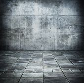 image of court room  - Dim concrete wall and floor space - JPG