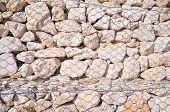 pic of rip-rap  - Full frame take of a gabion wall a construction techniqe - JPG