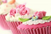 picture of sugarpaste  - sweet cupcakes decorated with sugar paste and cream - JPG