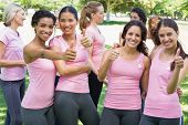 stock photo of breast  - Portrait of happy female breast cancer participants gesturing thumbs up during campaign at park - JPG