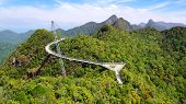pic of langkawi  - Curved pedestrian cable stayed bridge - JPG