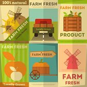 stock photo of truck farm  - Farm Fresh Organic Food Posters Set - JPG