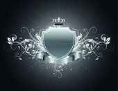 stock photo of spray can  - Vector illustration of heraldic shield or badge with banner - JPG