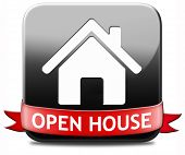 stock photo of model home  - Open house sign banner or placard for renting or buying a new home visit a real estate property model house - JPG