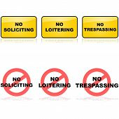 picture of soliciting  - Set of signs for no loitering soliciting or trespassing - JPG