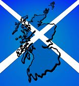 Outline of Scotland - slanted - placed over Scottish flag