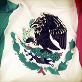 Closeup of ruffled Mexican flag