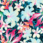 stock photo of frangipani  - Seamless pattern of tropical leaves and flowers with lots of colors - JPG