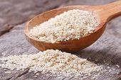 foto of sesame seed  - Sesame seeds in a wooden spoon closeup on wooden table - JPG