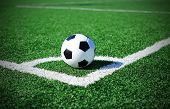 picture of football pitch  - Football on green grass - JPG